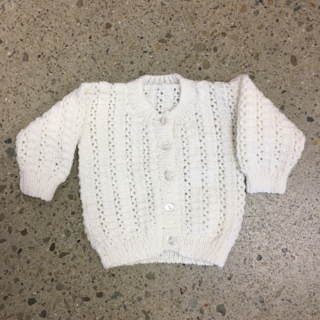 Knitted Pure Wool Jacket - White 0-3 months