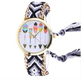 Knitted Woven Arrow Feather Watch (multiple colour choices)