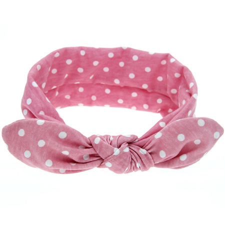 Knot Hairband - Dusky Pink  with White Spots