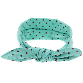 Knot Hairband - Green with Pink Spots