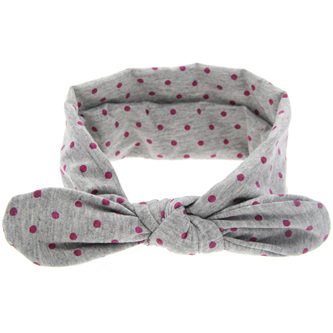 Knot Hairband - Grey with Pink Spots