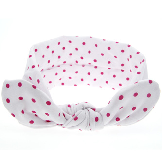 Knot Hairband - White  with Pink Spots