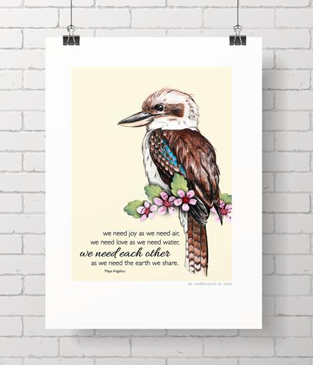 kookaburra limited edition wildfire print
