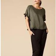 Korbel Linen Top - Short Sleeve - Moss
