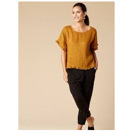 Korbel Linen Top - Short Sleeve - Mustard