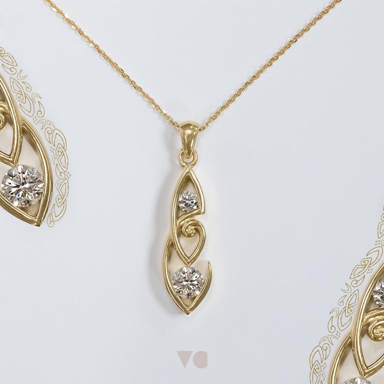Koru and hook detail diamond pendant 18ct yellow gold