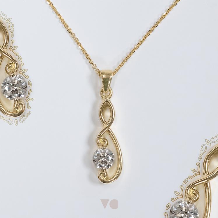 koru detail diamond pendant in 18ct yellow gold nz culture narrative collection