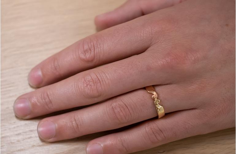 koru detail two tone mens wedding band rose yellow gold 9ct 18ct