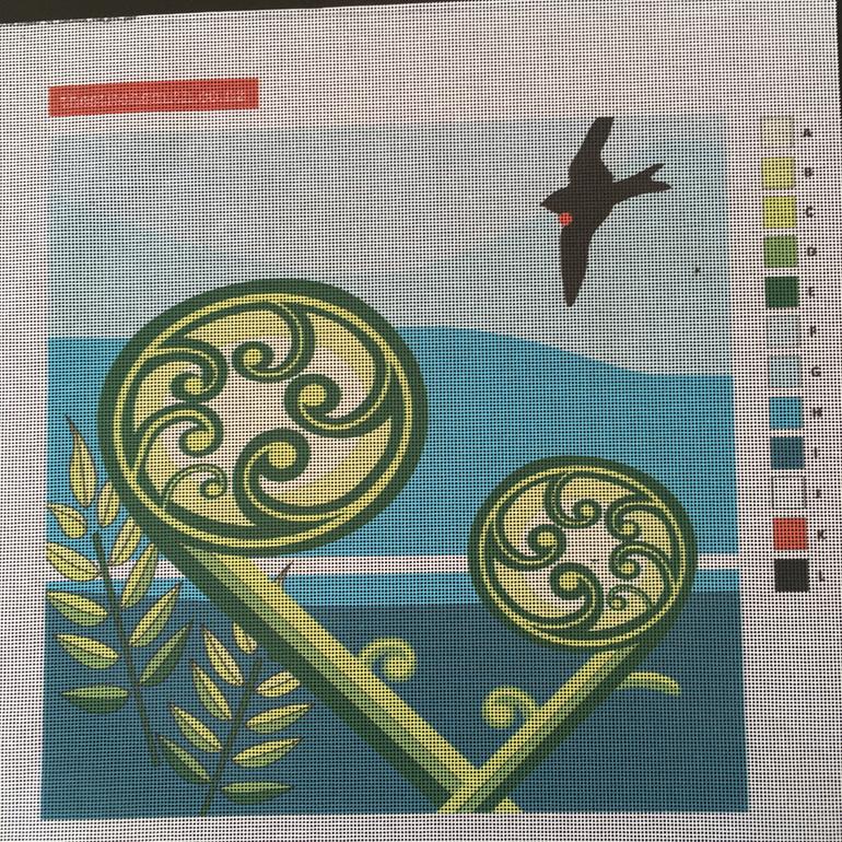 koru fern needlepoint canvas