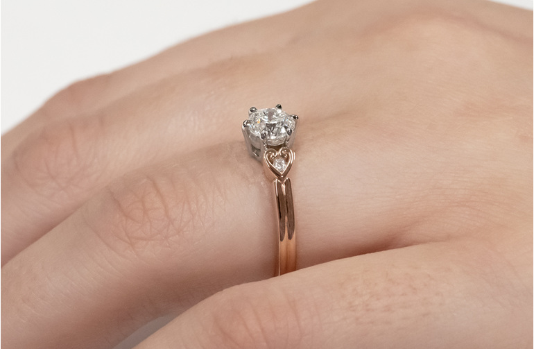 koru heart motif diamond accent engagement ring solitaire rose gold