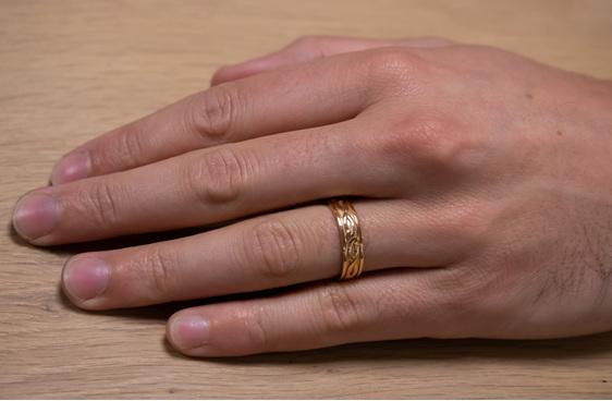 koru motif detailing brushed and polished finish mens wedding band rose gold