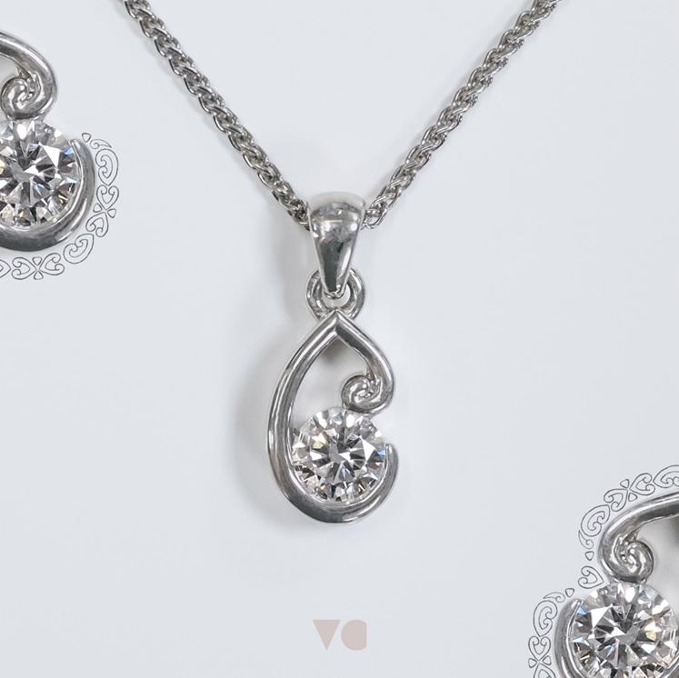 Koru motif platinum diamond pendant design maori nz aotearoa jewellery