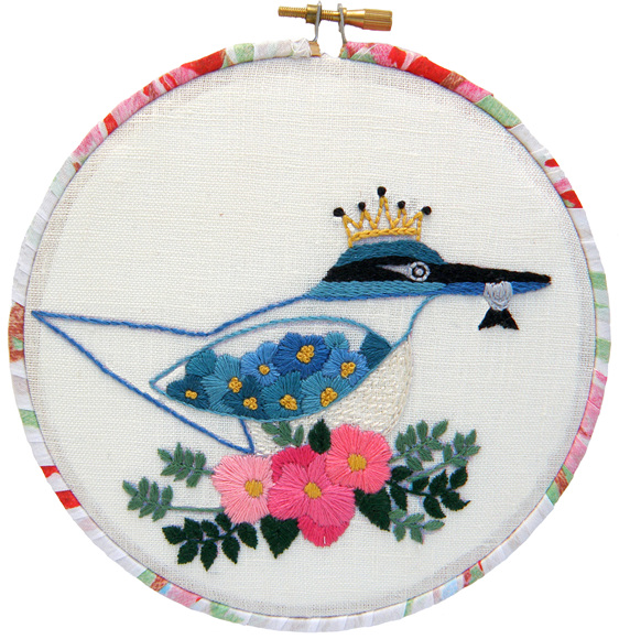 Kotare / kingfisher embroidery kit