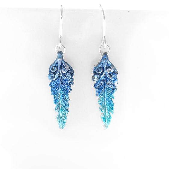 kotare kingfisher feather koru native bird blue aqua earrings bright