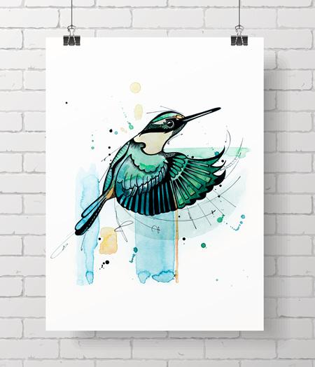 *kotare - watercolour kingfisher*