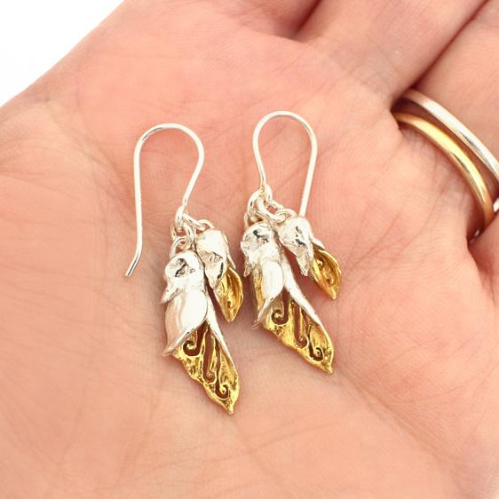 kowhai flower bud sterling silver gold dangle earrings floral spring botanical