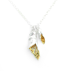 kowhai flower bud sterling silver gold necklace floral spring yellow botanical