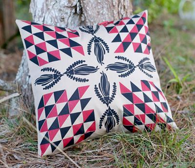 Kowhai flower pattern on Dusk coloured fabric Cushion cover.