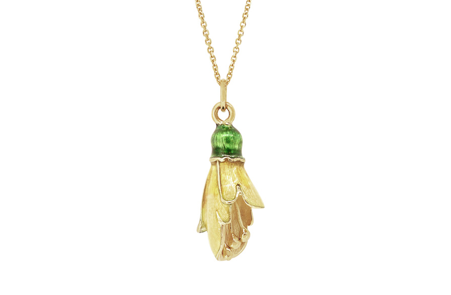 Kowhai Flower Pendant in Yellow Gold