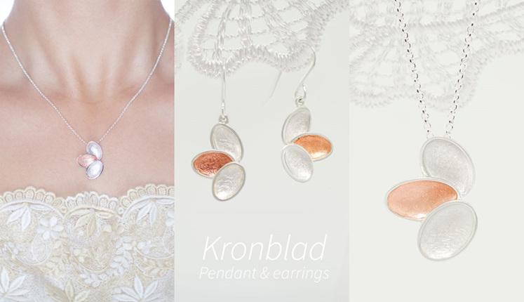 Kronblad, sterling silver, designer jewellery, earrings, rose gold, Lucence