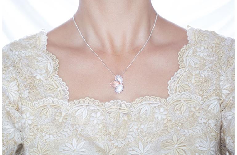 Kronblad, sterling silver, designer jewellery, pendant, rose gold, Lucence