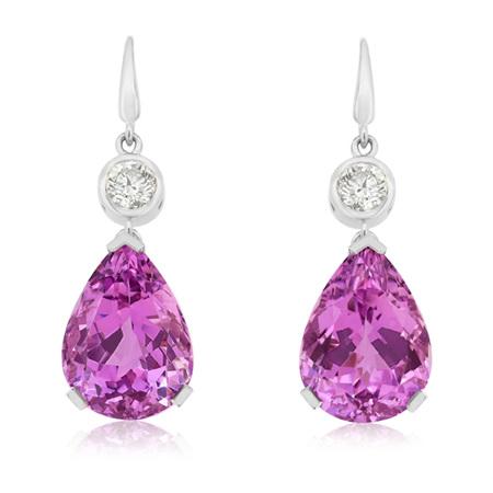Kunzite and Diamond Earrings