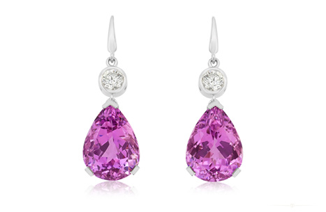 Kunzite and Diamond Earrings