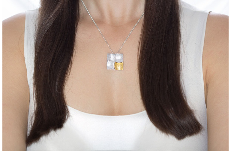 Kwadraat, sterling silver, designer jewellery, pendant, gold, Lucence