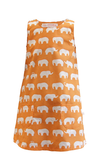 'Kyra' Tent Dress, 'Ele Family, Orange' GOTS Organic Cotton, 3 years