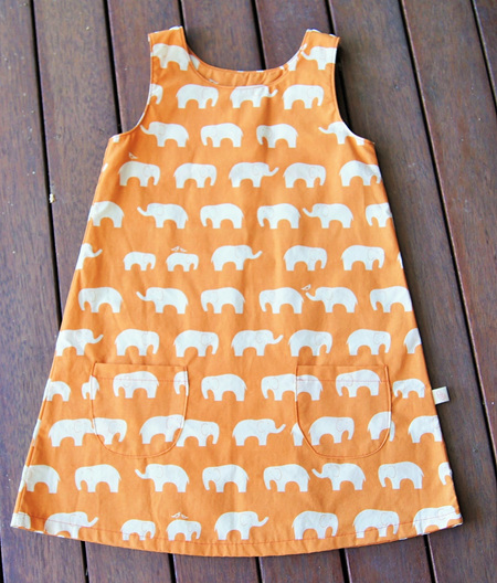 'Kyra' Tent Dress in 'Ele Family, Orange' GOTS Organic Cotton, 1 year