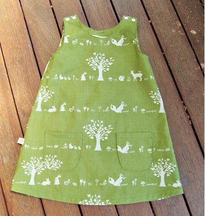 """Kyra"" Tent Dress in 'Forest Friends' GOTS Organic Cotton"