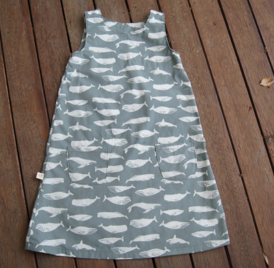 """Kyra"" Tent Dress, ""Kujira, Gray"" GOTS Organic Cotton, 2 yrs"