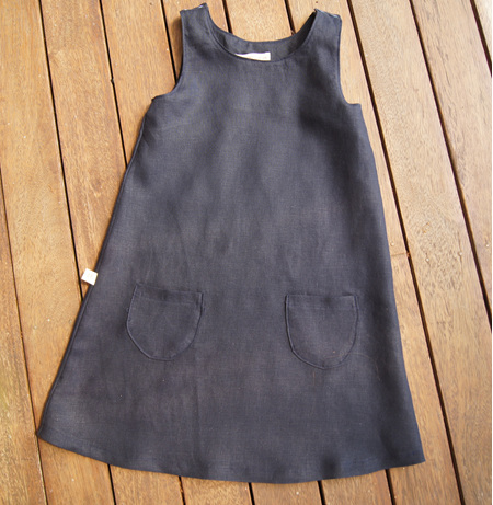 'Kyra' Tent Dress, Pure Linen, Navy, 3 years