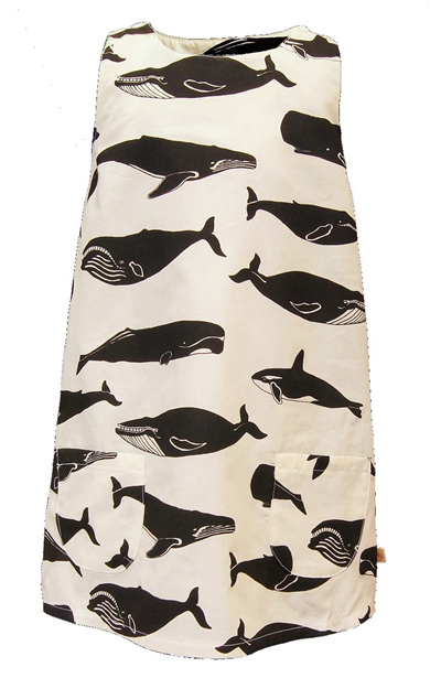 'Kyra' tent dress, 'Whale Pod' GOTS Organic Cotton, 4 years