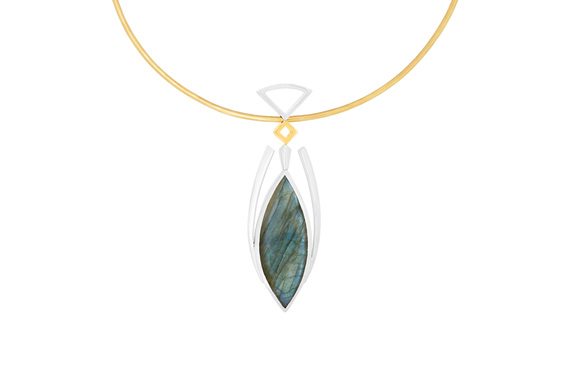 Labradorite Yellow Gold and Sterling Silver Abstract Design Pendant