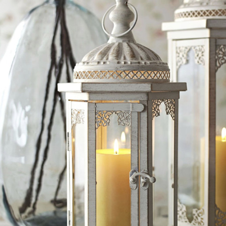 Lace Ivory White Glass Candle Lantern