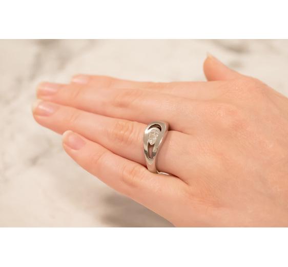 Lacrosse Pear Diamond Modern Ring