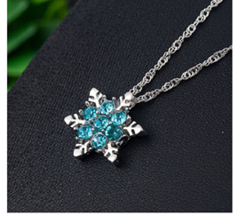 Lady Blue Snowflake Necklace - Silver Chain