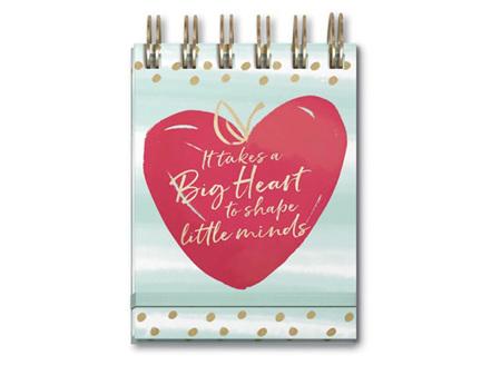 Lady Jayne Big Heart Teacher Spiral Pocket Note Pad