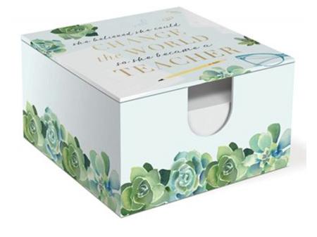 Lady Jayne Teacher Succulents Memo Box with Pen