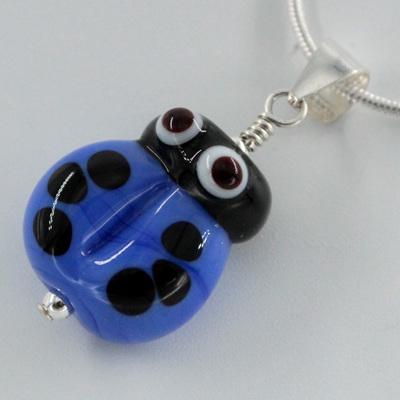 Ladybug pendant - blue