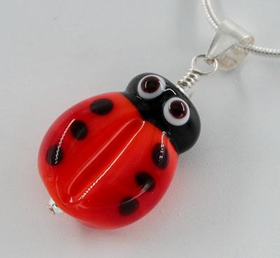 Ladybug pendant - dark orange