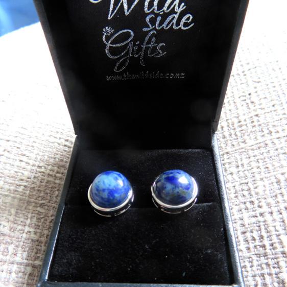 Lapis Lazuli Stud earrings in a jewellery box.