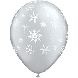 Large 40cm latex balloon - snowflakes & sparkles