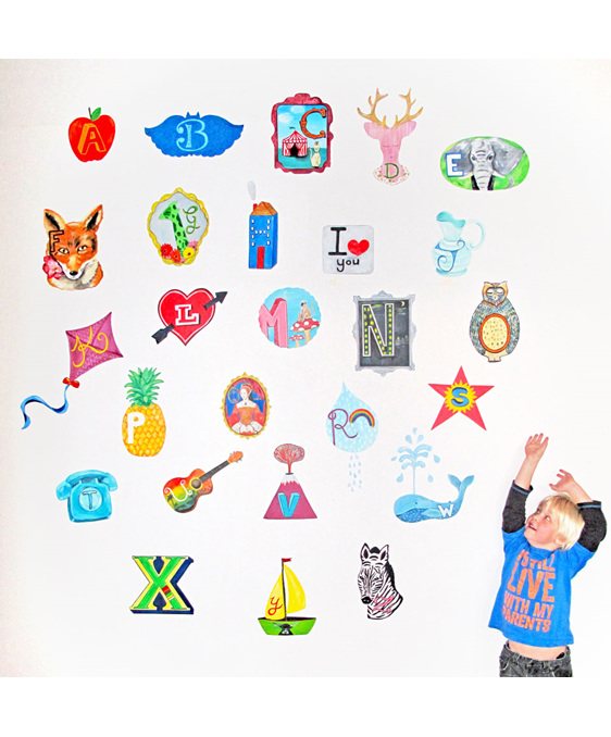 Large alphabet wall decal