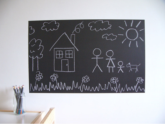 large chalkboard stick figures