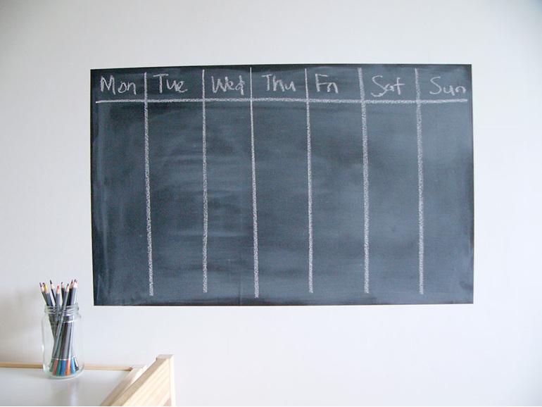 large chalkboard week days