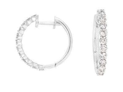 Large Claw Set Diamond Hoop Earrings