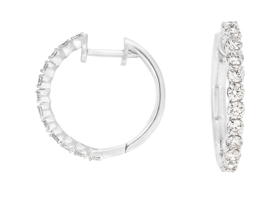 Large Claw Set Diamond Hoop Earrings