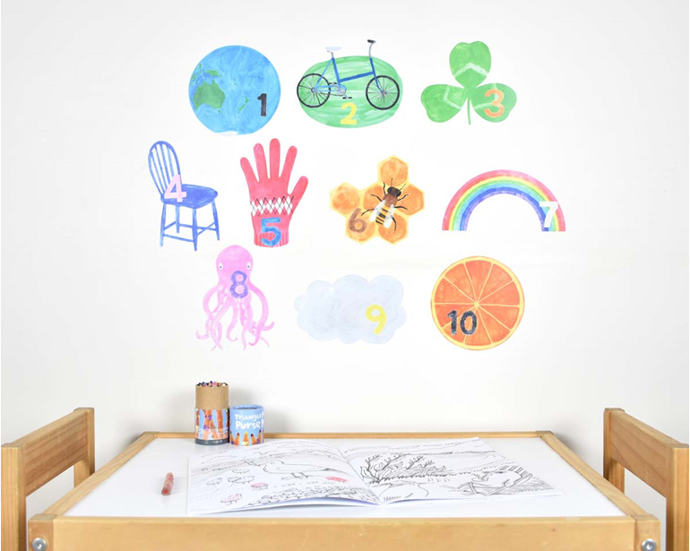 Large counting numbers wall decal